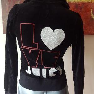 JUICY BLACK VELVET L❤ve Juicy hoodie size small